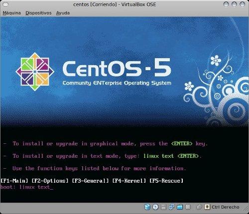 centos  5.4 linux text install