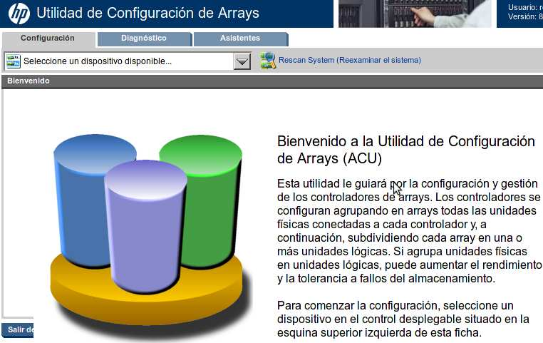 hp ACU array configuration utility