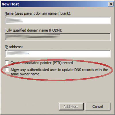 DNS allow updates Authenticated users