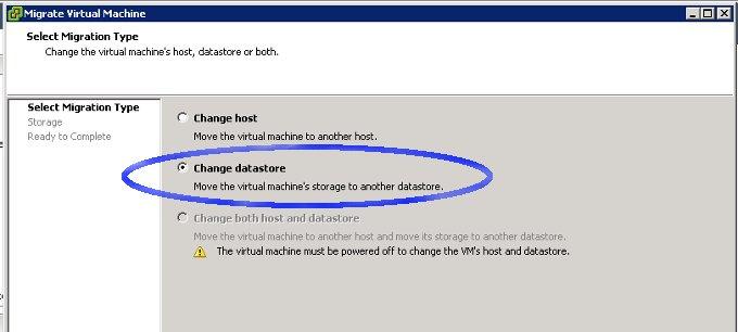VMware migrate datastore