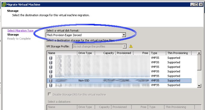 VMware virtual disk storage type