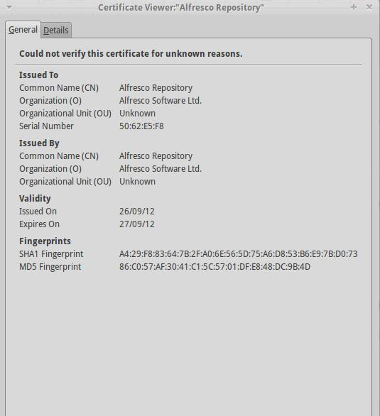 Alfresco SSL Certificate