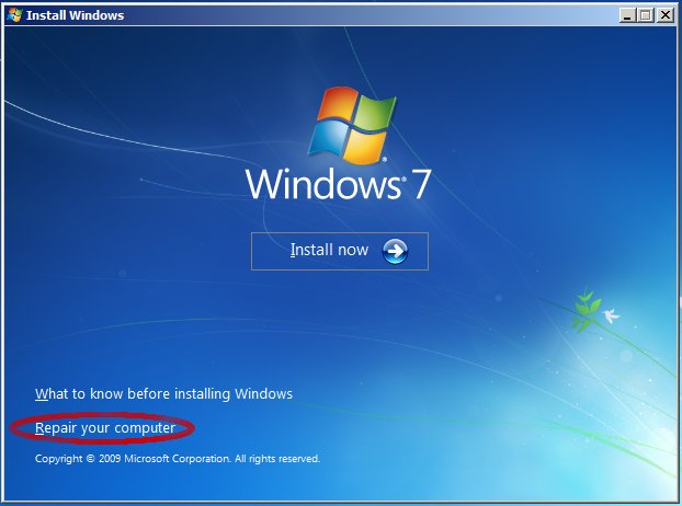 restaurar bootloader Windows 7