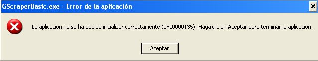 error windows aplicacion 0xc0000135