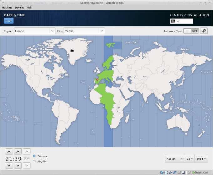 instalacion centos 7 configuracion regional