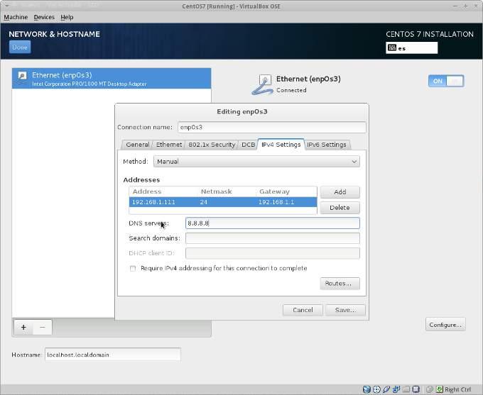 instalacion centos 8 network configuration
