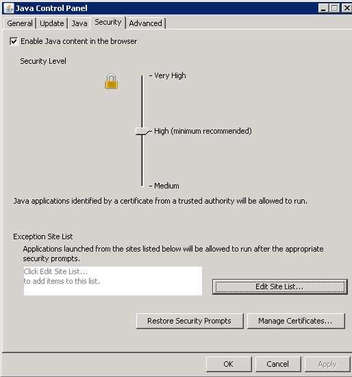 Java Security Settings