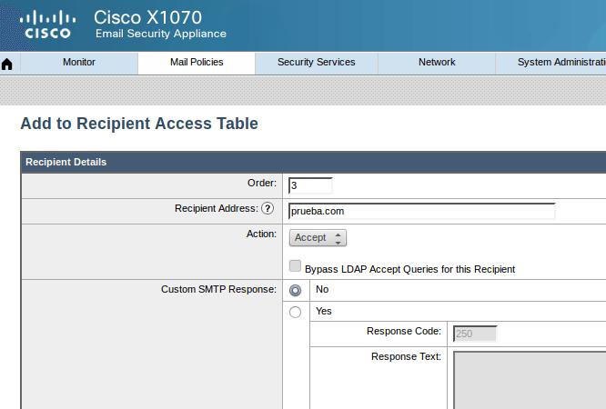Ironport Recipient Access Table